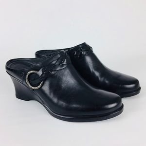Ariat Black Leather Wedge Mules Braided Strap 9